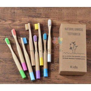Brosse à dents ronde en bois de bambou recyclable, à partir de 2 ans