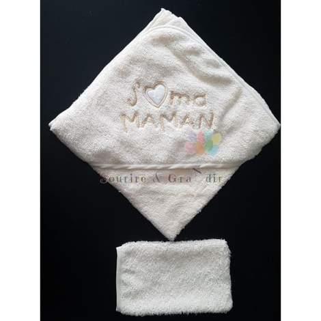 Cape de bain + gant bébé, J'❤️ ma maman, jaune