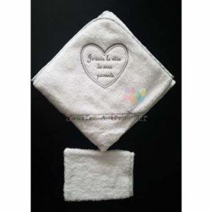 Cape de bain + gant bébé, Je suis le rêve…, Blanc/Gris