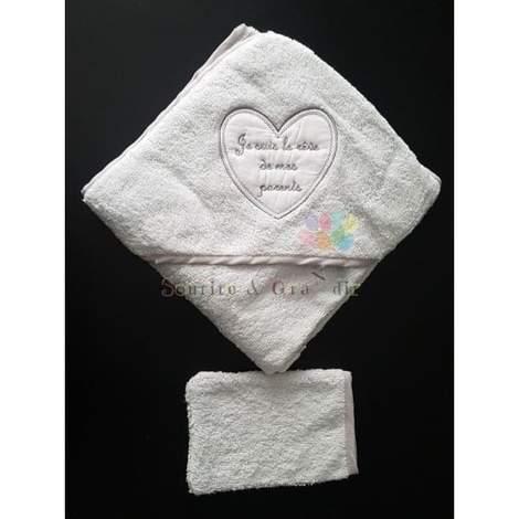 Cape de bain + gant bébé, Je suis le rêve…, Gris