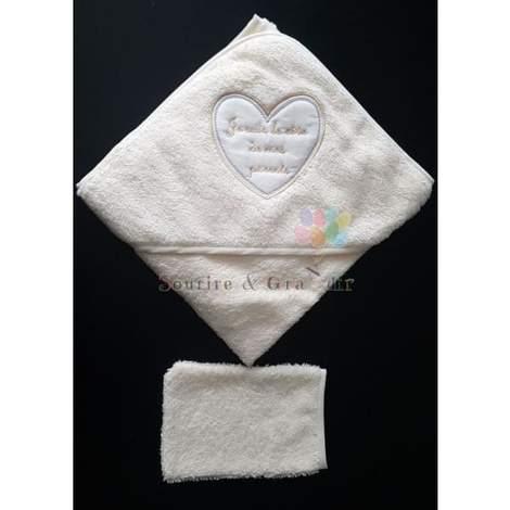 Cape de bain + gant bébé, Je suis le rêve…, Jaune clair