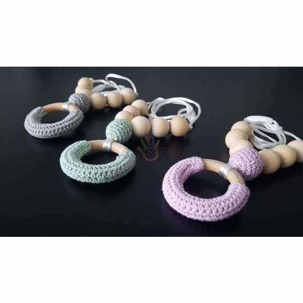 Collier d'allaitement bébé en bois naturel et coton