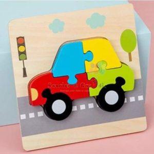 Jeu en bois, puzzle voiture