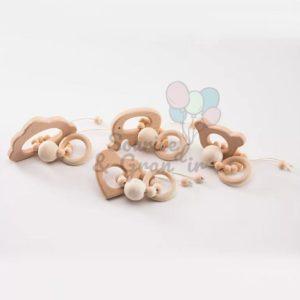 Anneau de dentition en bois naturel pour bébé
