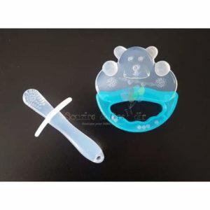 Kit de dentition, brosse massante + hochet à perles, bleu ou rose