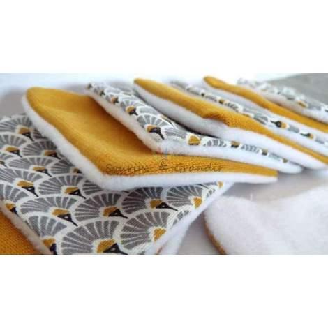 Lot de 10 cotons lavables Oeko-tex, moutarde