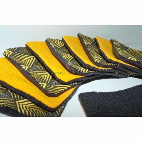 Lot de 10 cotons lavables Oeko-tex, noir/jaune