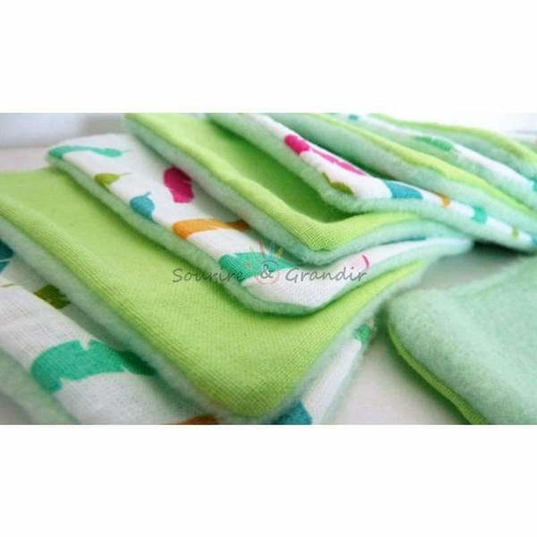 Lot de 10 cotons lavables Oeko-tex pour bébé, vert