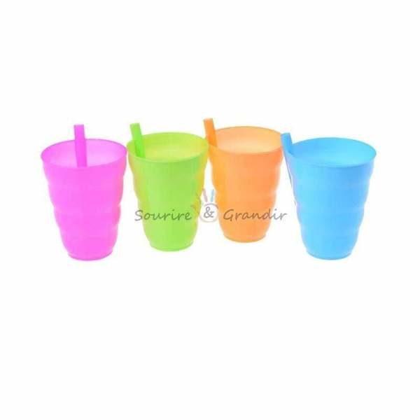 Lot de 4 verres pour enfant avec paille intégrée*