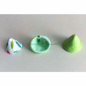 Lot de 6 Tipi pipi pour bébé, vert, fait main