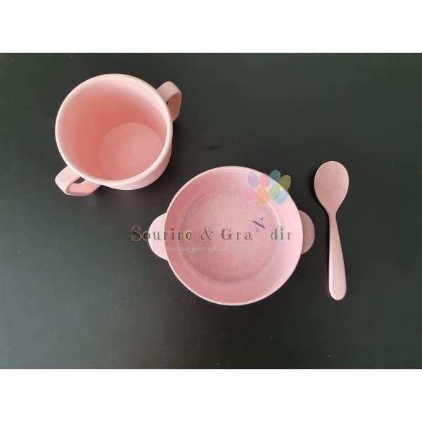 Set de vaisselle Bambou et paille de blé, rose*