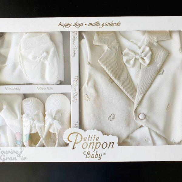 Ensemble de cérémonie / costume naissance, beige