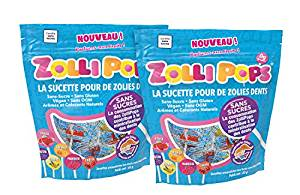 Lot de 2 paquets de sucettes Zollipops, les bonbons bons pour la santé