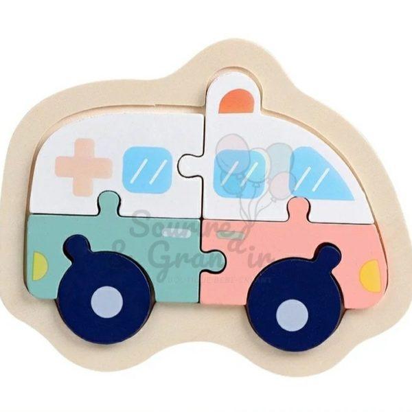 Jeu en bois, puzzle ambulance