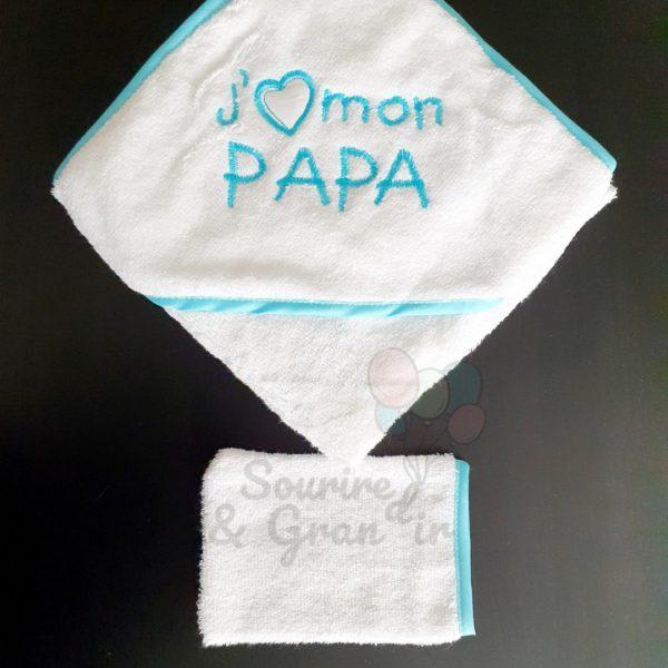 Cape de bain + gant bébé, J'❤️ mon papa, Turquoise