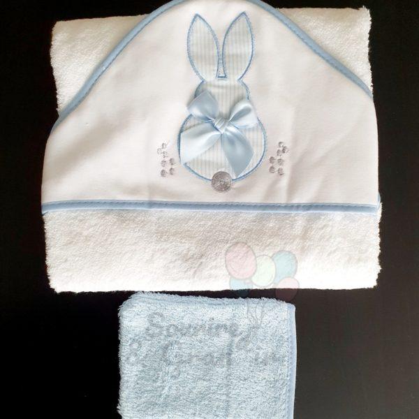 Cape de bain + gant bébé, Lapin satiné bleu