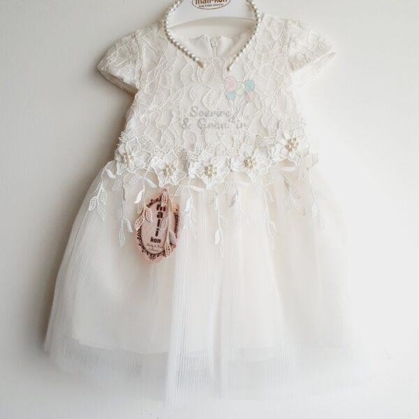 Robe de cérémonie, à partir de 1 an, Blanc + accesoire