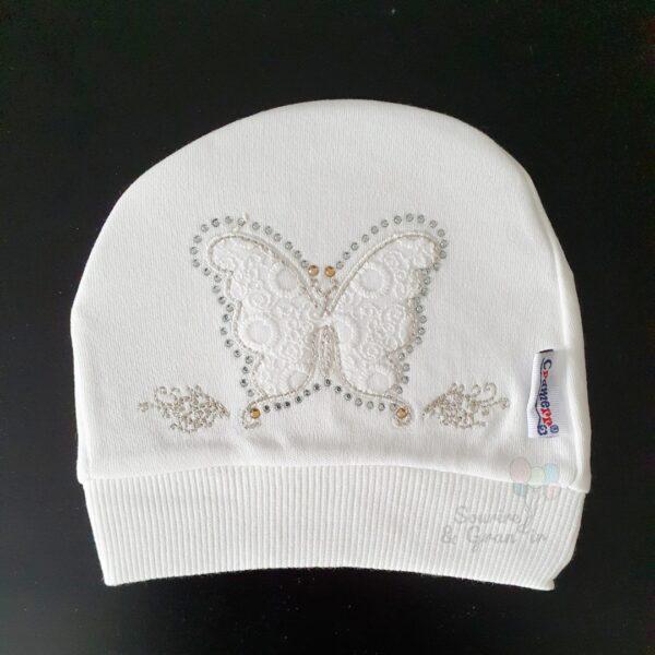 Bonnet naissance en coton bio, papillon