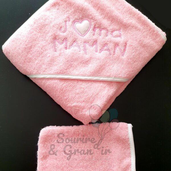Cape de bain + gant bébé, J'❤️ ma maman, rose