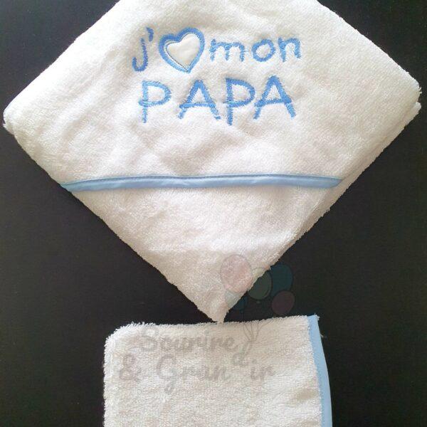 Cape de bain + gant bébé, J'aime ma maman, blanc et bleu