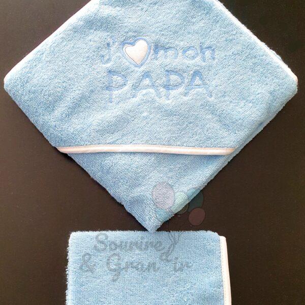 Cape de bain + gant bébé, J'aime mon papa, bleu et blanc