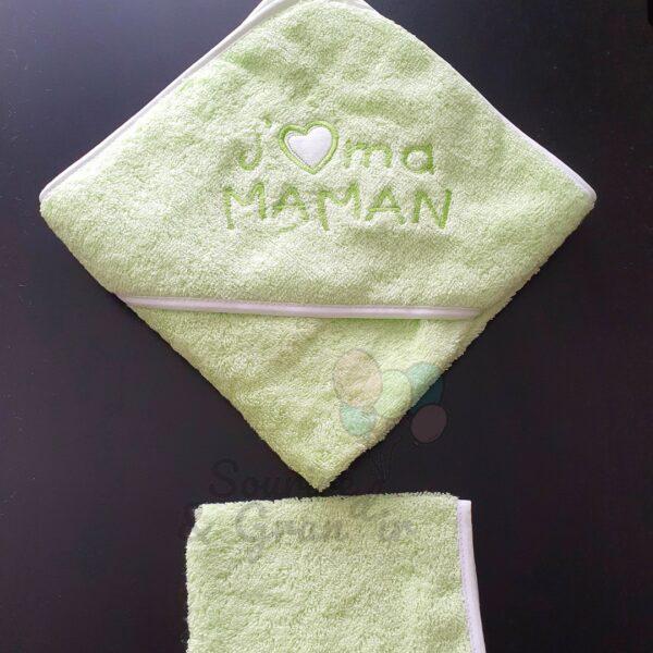 Cape de bain + gant bébé, J'❤️ ma maman, vert pomme