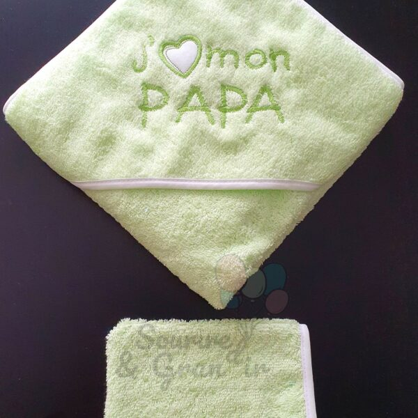 Cape de bain + gant bébé, J'❤️ mon papa, vert pomme