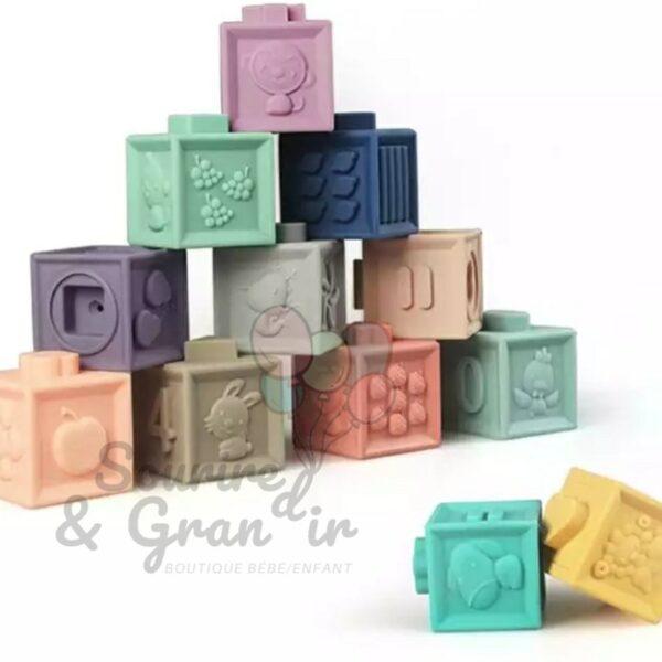 Lot de 12 cubes d'éveil sensoriel
