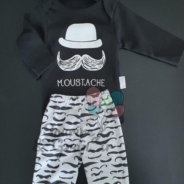 Ensemble bébé 3 pièces, Moustache