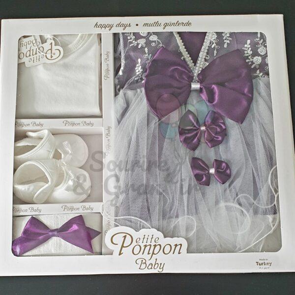 Ensemble robe de cérémonie naissance, violet foncé à traine
