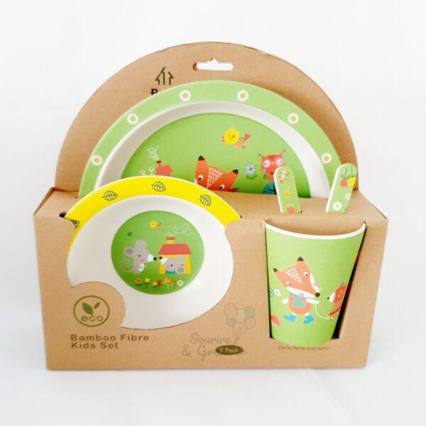 Set de 5 pièces de vaisselle écologique en Bambou, Renard*