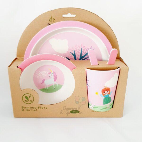 Set de 5 pièces de vaisselle écologique en Bambou, Licorne*
