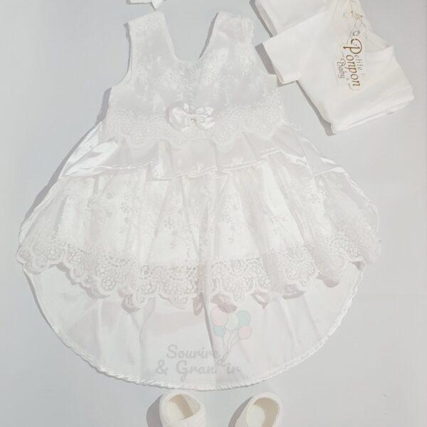 Ensemble robe de cérémonie naissance à traine, blanc