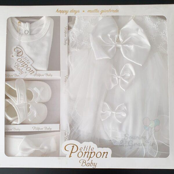Ensemble robe de cérémonie naissance à traine, blanche