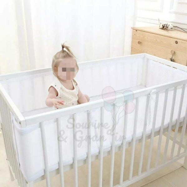 Tour de lit respirant blanc*