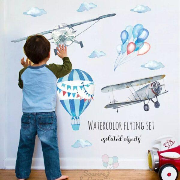 Stickers décoration de chambre d'enfant, Aviateur*