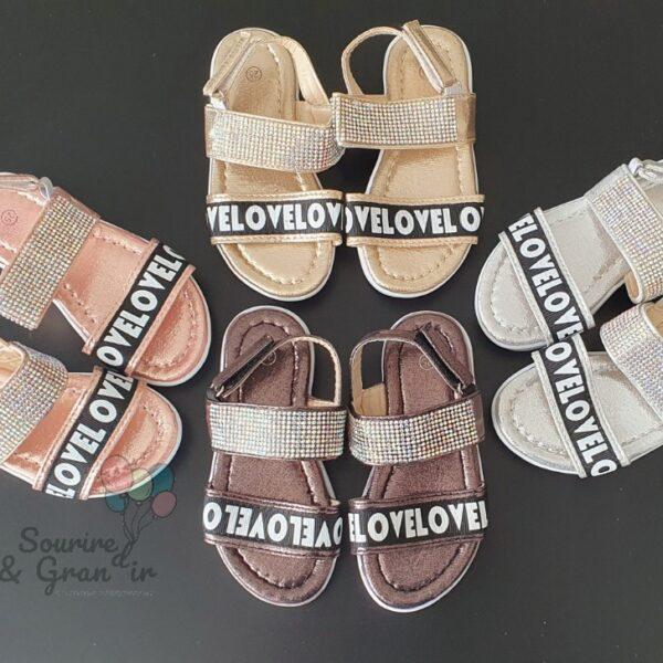 Chaussures fille d'été, Love & strass