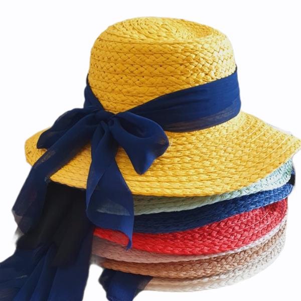 Chapeau de paille à nœud pour fille, 8 couleurs*