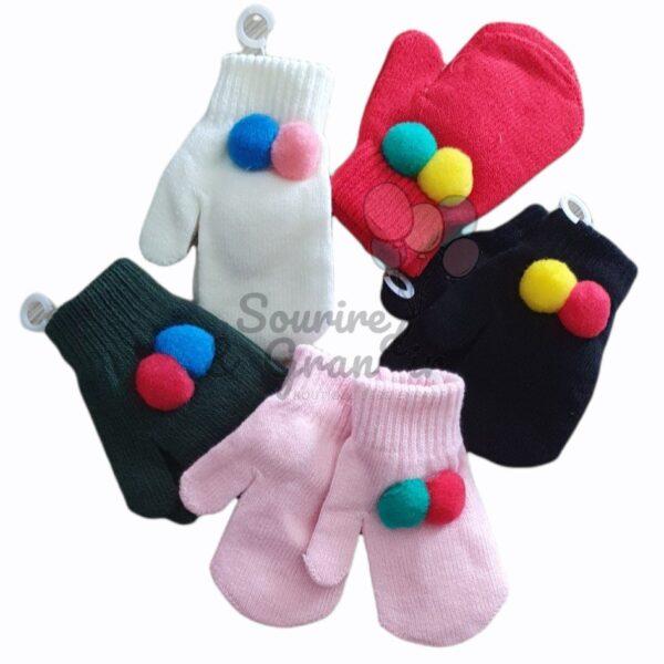 """Moufles pour bébé avec cordon, """"pompon"""""""