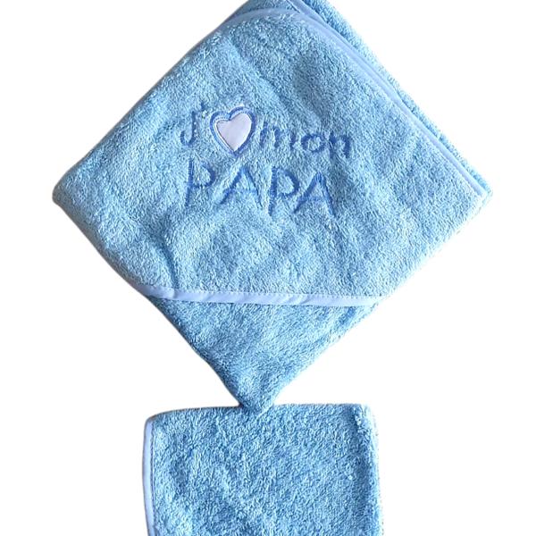 Cape de bain, J'aime mon papa, bleu