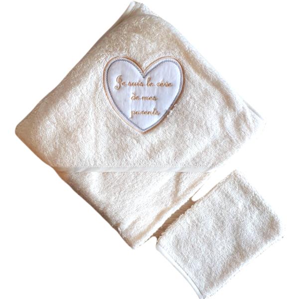 Cape de bain + gant bébé, Je suis le rêve…, Jaune