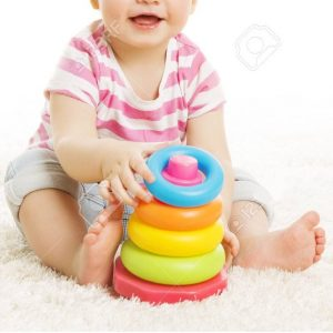 Baby Playing Toys, Child Play Pyramid Tower, Little Kid Early Education Concept, isolated over white background
